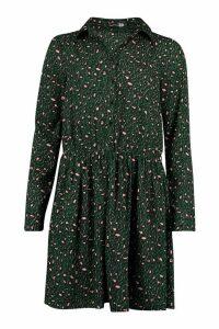 Womens Tall Leopard Print Shirt Dress - green - 14, Green