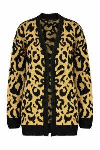 Womens Tall Leopard Cardigan - beige - M, Beige