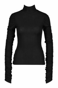 Womens Tall Roll Neck Ruched Sleeve Rib Jumper - Black - 18, Black