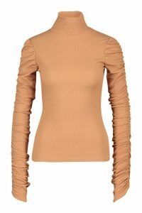 Womens Tall Roll Neck Ruched Sleeve Rib Jumper - Beige - 12, Beige