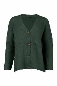 Womens Tall Textured Knit Button Front Boxy Cardigan - green - S/M, Green