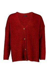Womens Tall Textured Knit Button Front Boxy Cardigan - M/L, Red