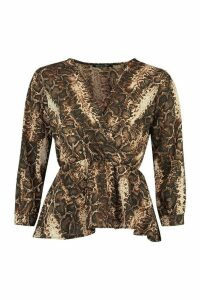 Womens Tall Snake Print Peplum Blouse - brown - 12, Brown