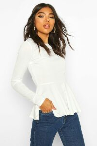 Womens Tall Rib Peplum Top - white - 12, White