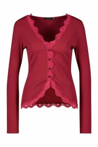 Womens Tall Lace Trim Rib Cardigan - red - 16, Red