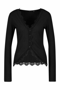 Womens Tall Lace Trim Rib Cardigan - black - 18, Black