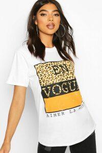 Womens Tall Leopard Print Slogan T-Shirt - White - M, White