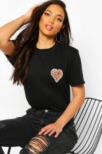 Womens Tall Leopard Heart Pocket Print T-Shirt - black - XL, Black