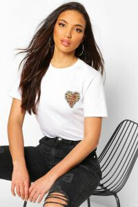 Womens Tall Leopard Heart Pocket Print T-Shirt - White - Xl, White