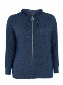 Navy Blue Soft Touch Zip Through Hoodie, Navy