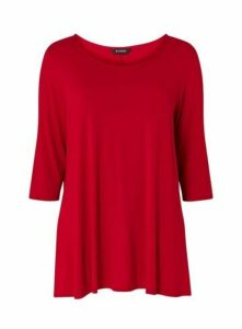 Red Round Neck Swing Tunic, Red