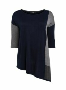 Navy Blue Colour Block Asymmetric Jumper, Navy