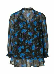 Blue Floral Print Frill Hem Top, Dark Multi