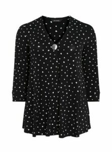 Black Monochrome Heart Print Button Detail Top, Black