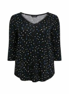 Black Polka Dot Print Top, Black