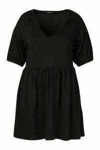 Womens Plus Puff Sleeve Smock Dress - Black - 18, Black