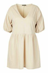 Womens Plus Puff Sleeve Smock Dress - Beige - 18, Beige