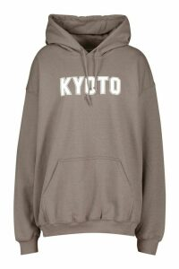 Womens Oversized Kyoto Graphic Hoody - grey - XXL, Grey