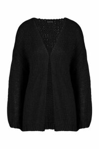 Loose Knit Premium Boyfriend Cardigan - black - ONE SIZE, Black