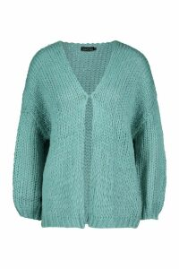 Womens Loose Knit Premium Boyfriend Cardigan - green - ONE SIZE, Green
