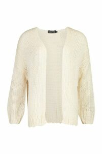 Womens Loose Knit Premium Boyfriend Cardigan - white - ONE SIZE, White