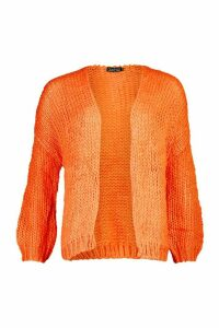 Loose Knit Premium Boyfriend Cardigan - orange - ONE SIZE, Orange