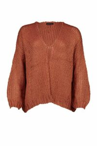 Womens Loose Knit Premium Boyfriend Cardigan - brown - ONE SIZE, Brown