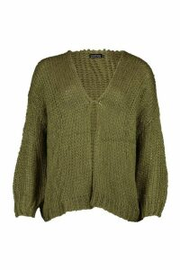Loose Knit Premium Boyfriend Cardigan - green - ONE SIZE, Green