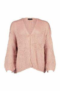 Loose Knit Premium Boyfriend Cardigan - Beige - ONE SIZE, Beige