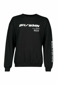 Womens Woman Graphic Oversized Sweatshirt - black - L, Black