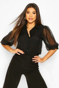 Womens Dobby Mesh Puff Sleeve Shirt - black - 14, Black
