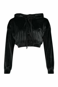 Womens Velour Slouchy Cropped Hoodie - black - 16, Black