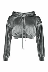 Womens Velour Slouchy Cropped Hoodie - grey - 8, Grey