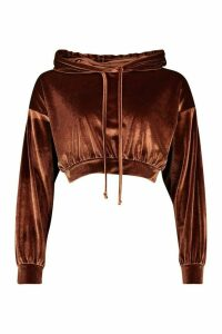 Womens Velour Slouchy Cropped Hoodie - brown - 16, Brown