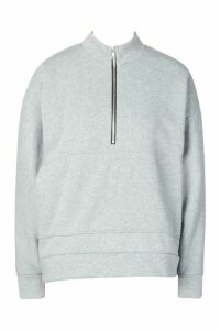 Womens Oversized roll/polo neck Sweat With Zip - grey - M, Grey