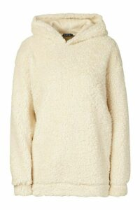 Womens Oversized Hooded Teddy Pocket Hoodie - white - XL, White