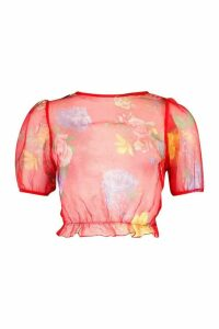 Womens Floral Organza Puff Sleeve Frill Top - red - 10, Red