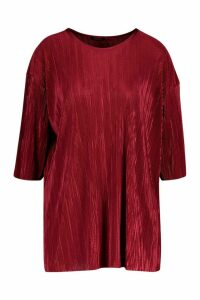 Womens Pleated Top - red - 12, Red
