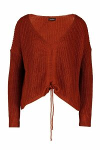 Womens Ruched Tie Front Jumper - brown - M, Brown