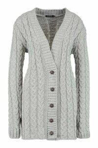 Womens Cable Knit Cardigan - grey - S/M, Grey