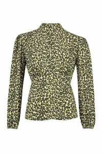 Womens Woven Leopard High Neck Peplum Tops - beige - 14, Beige