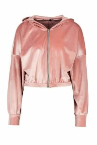 Womens Velour Zip Up Slouchy Hoodie - pink - 16, Pink