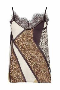 Womens Animal Print Lace Trim Side Split Cami - brown - 12, Brown