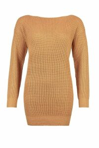 Womens Slash Neck Fisherman Jumper - Beige - S, Beige