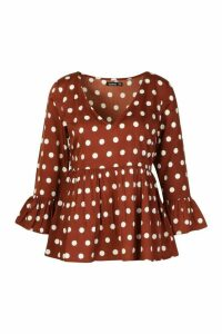 Womens Large Spot Flare Sleeve Smock Top - brown - 12, Brown