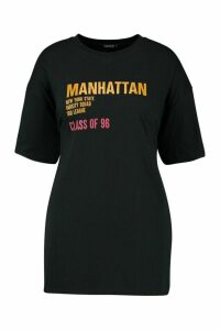 Womens Recycled Oversized 'Class of 96' Slogan T-Shirt - black - 14/16, Black