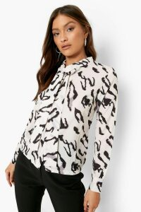 Womens Woven Animal Print Pussy Bow Blouse - Beige - 6, Beige