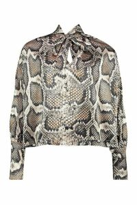 Womens Woven Snake Pussy Bow Blouse - grey - 12, Grey