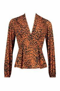 Womens Leopard Woven Peplum Blouse - Beige - 10, Beige