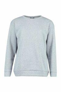 Womens Oversized Sports Fleece jumper - grey - 8, Grey